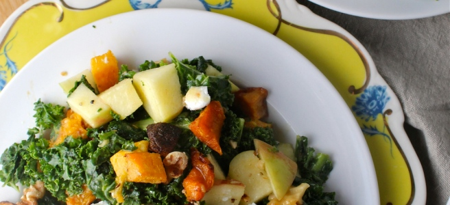 This Autumn Kale Salad features caramelized butternut squash, fresh and juicy apples, and creamy goat cheese - all my favorite fall flavors! | The Millennial Cook #fallrecipe #salad