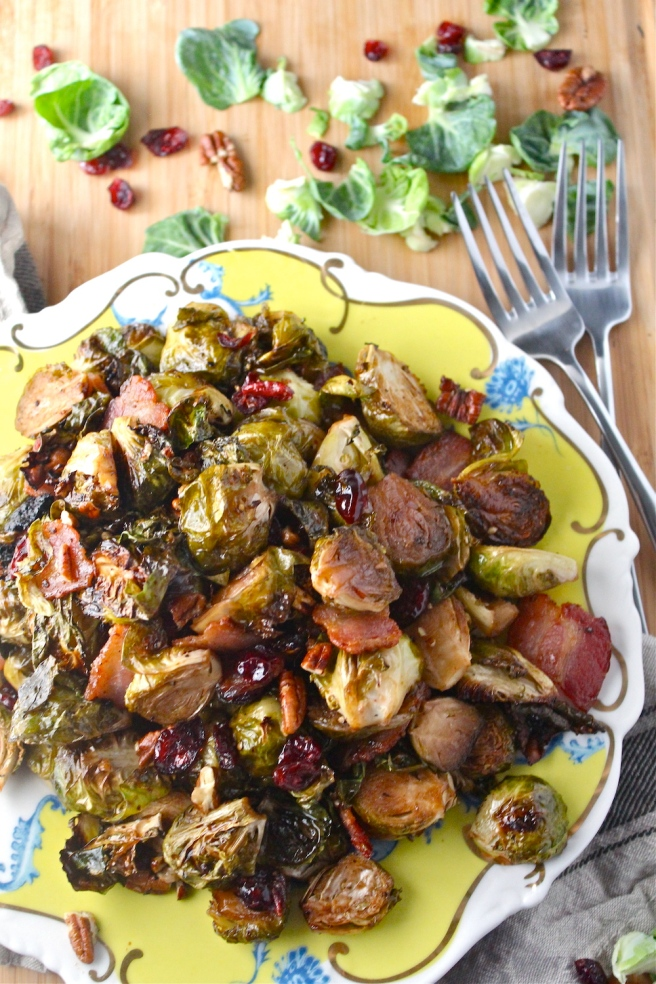 These Sweet & Tart Caramelized Brussels Sprouts are loaded with tart balsamic vinegar, sweet maple syrup, and plenty of bacon for the most delicious and decadent side dish! | The Millennial Cook #fallrecipe #brusselssprouts #bacon #maple
