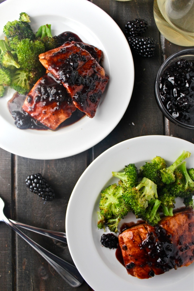 This Berry Glazed Salmon features a sweet sauce made with blackberry jam and white wine - my favorite way to prepare my favorite fish! | The Millennial Cook #salmon #blackberry