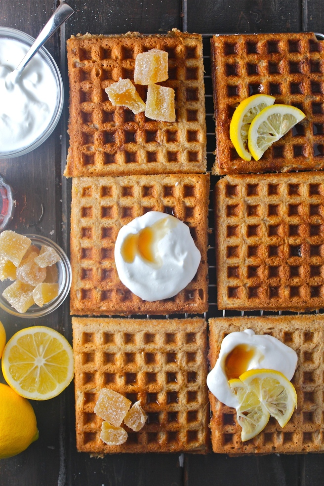 These Lemon Ginger Waffles are warm, sweet, tart, and spicy - the perfect breakfast for a cozy winter weekend at home! | The Millennial Cook #winterrecipe #waffles #breakfast #brunch #lemon #ginger