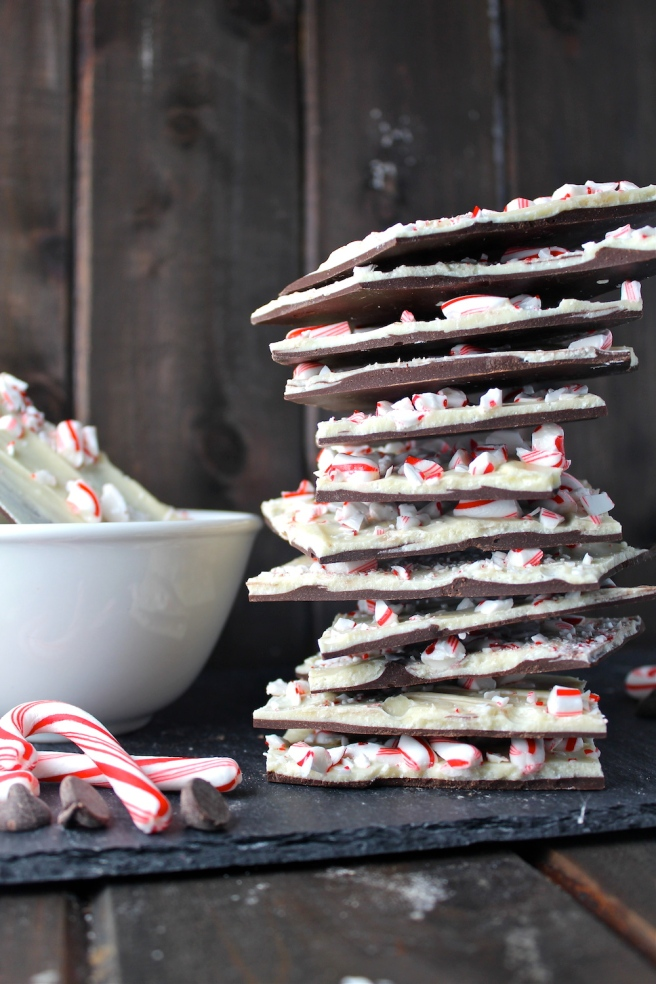 This Peppermint Bark combines semisweet and white chocolate with crushed peppermint candy for an amazing holiday treat! | The Millennial Cook #winterrecipe #christmasrecipe #chocolate #peppermint #peppermintbark #candy