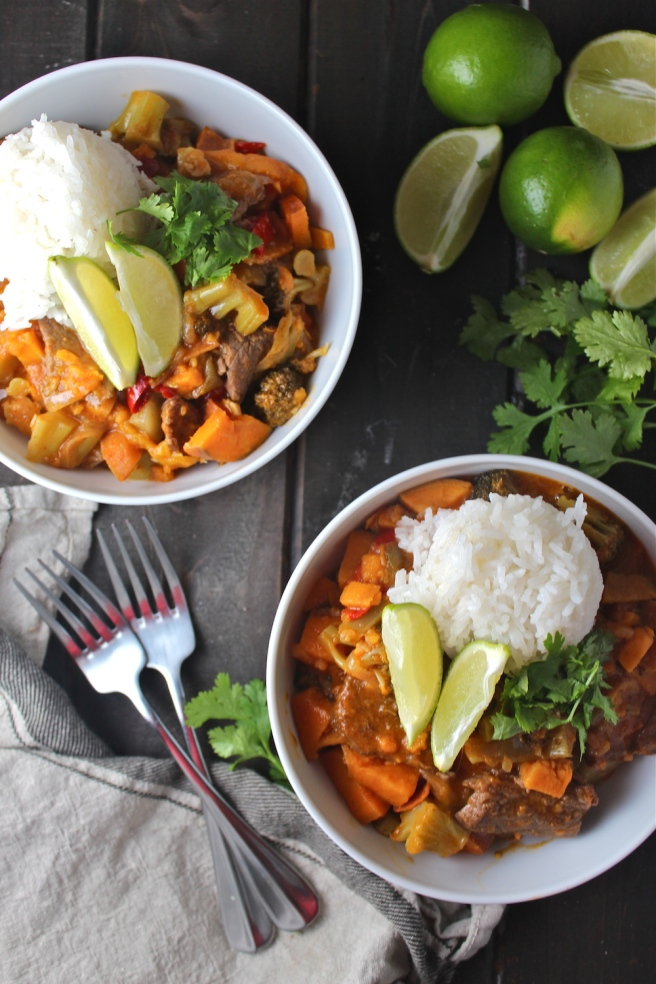 This Red Thai Beef Curry is an easy savory and delicious version of one of my favorite restaurant dishes!   The Millennial Cook #thaifood #curry #thaicurry #asian