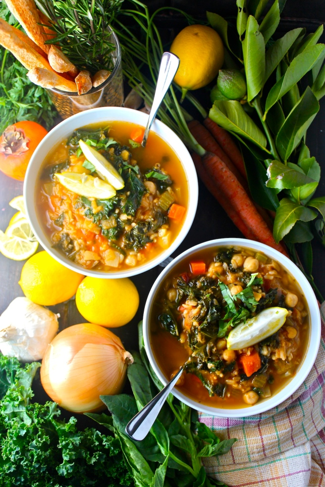 This nourishing Winter Detox Soup is loaded with hearty brown rice, filling garbanzo beans, and all of my favorite winter vegetables! | The Millennial Cook #winterrecipe #soup #vegetablesoup