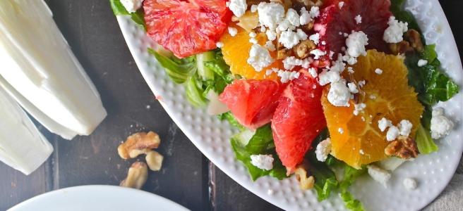 This elegant Citrus & Endive Salad is vibrantly flavored with oranges, grapefruits, and bitter endive! | The Millennial Cook #winterrecipe #salad #citrus #orange #grapefruit #endive