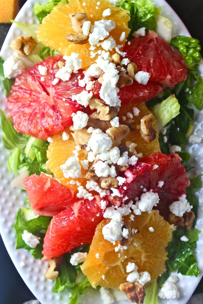 This elegant Citrus & Endive Salad is vibrantly flavored with oranges, grapefruits, and bitter endive!   The Millennial Cook #winterrecipe #salad #citrus #orange #grapefruit #endive