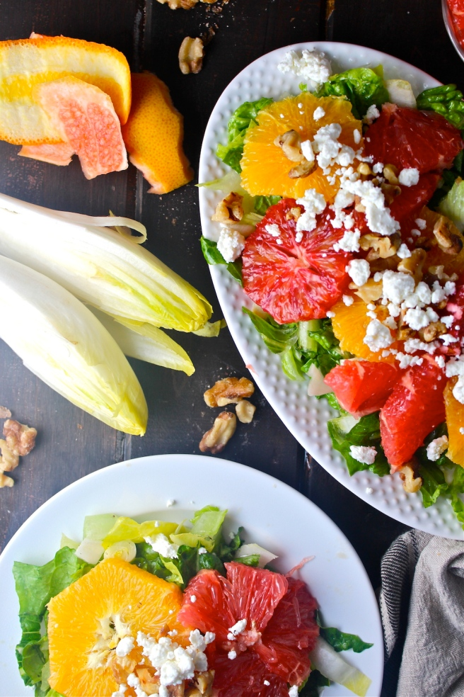 This elegant Citrus & Endive Salad is vibrantly flavored with oranges, grapefruits, and bitter endive! | The Millennial Cook #winterrecipe #salad #citrus #orange #grapefruit #endive