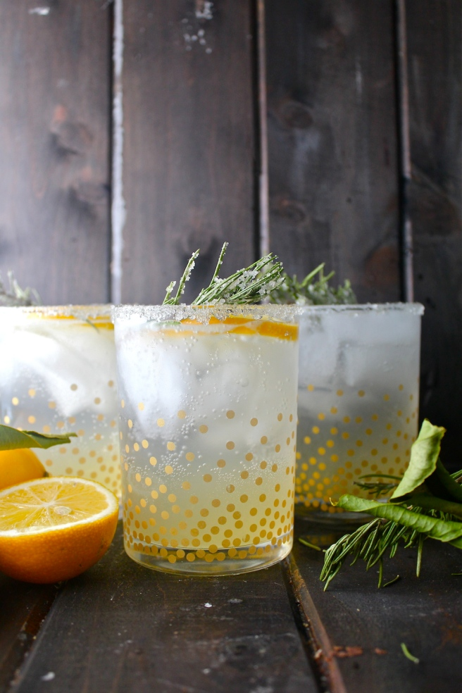 This Lemon Rosemary Gin Fizz is a fun sparkling drink flavored with tart lemon juice and bold rosemary! | The Millennial Cook #winterrecipe #drink #cocktail #lemon #rosemary #gin #ginfizz