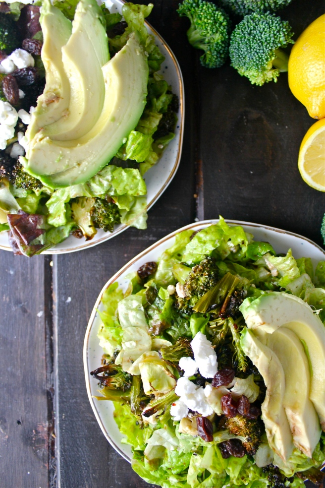 This Lemony Roasted Broccoli Salad with goat cheese, avocado, and sweet raisins is so fresh, wholesome, and hearty! | The Millennial Cook #winterrecipe #salad #broccoli #lemon #garlic #avocado