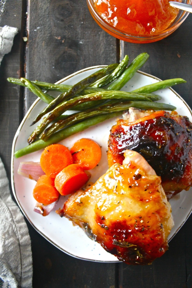 This Roasted Apricot Chicken is an easy one-pan meal featuring the most delicious sweet and savory apricot glaze! | The Millennial Cook #chicken #roastedchicken #apricot #onepan