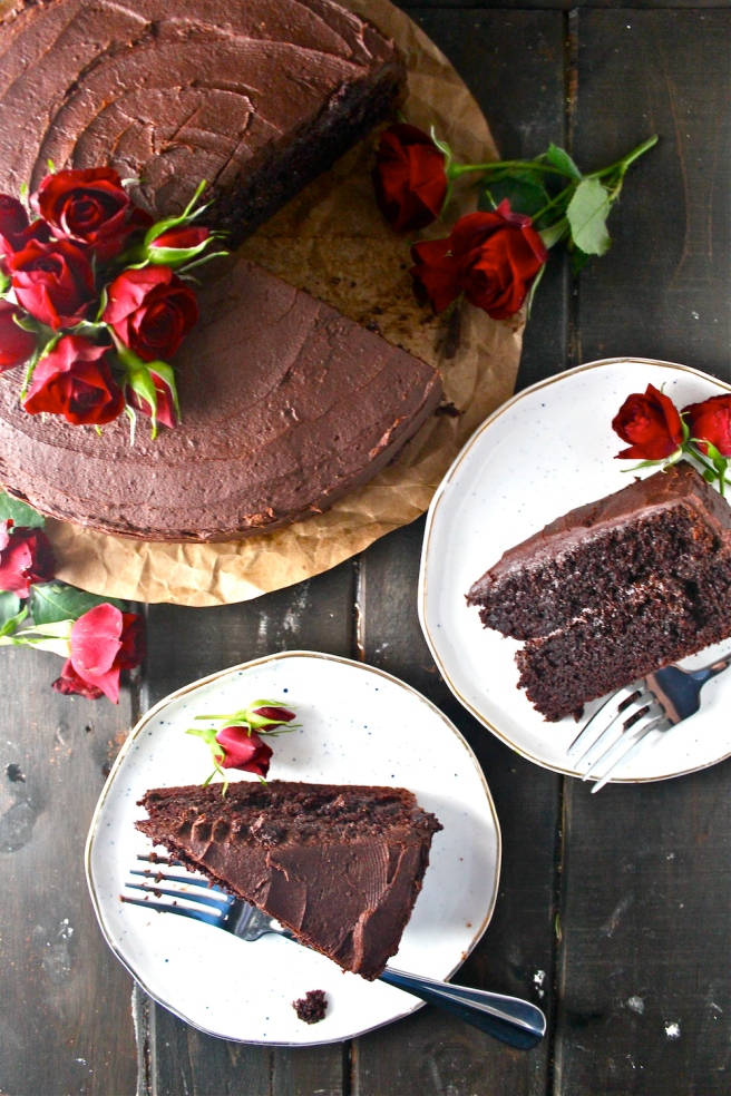 This Chocolate Cake - with a sweet, rich, moist crumb - is one of my favorite desserts of all time! | The Millennial Cook #cake #layercake #chocolate #chocolatecake