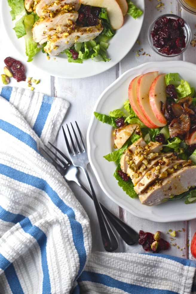 This Pistachio Crusted Chicken Salad - with caramelized onions, chopped apple, and goat cheese - is an amazing light and healthy dinner!   The Millennial Cook #salad #chicken #pistachio