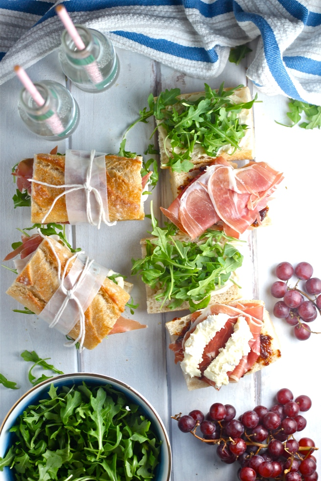 These Prosciutto Picnic Sandwiches are an easy and delicious European-style lunch! | The Millennial Cook #sandwich #prosciutto #brie #fig #arugula