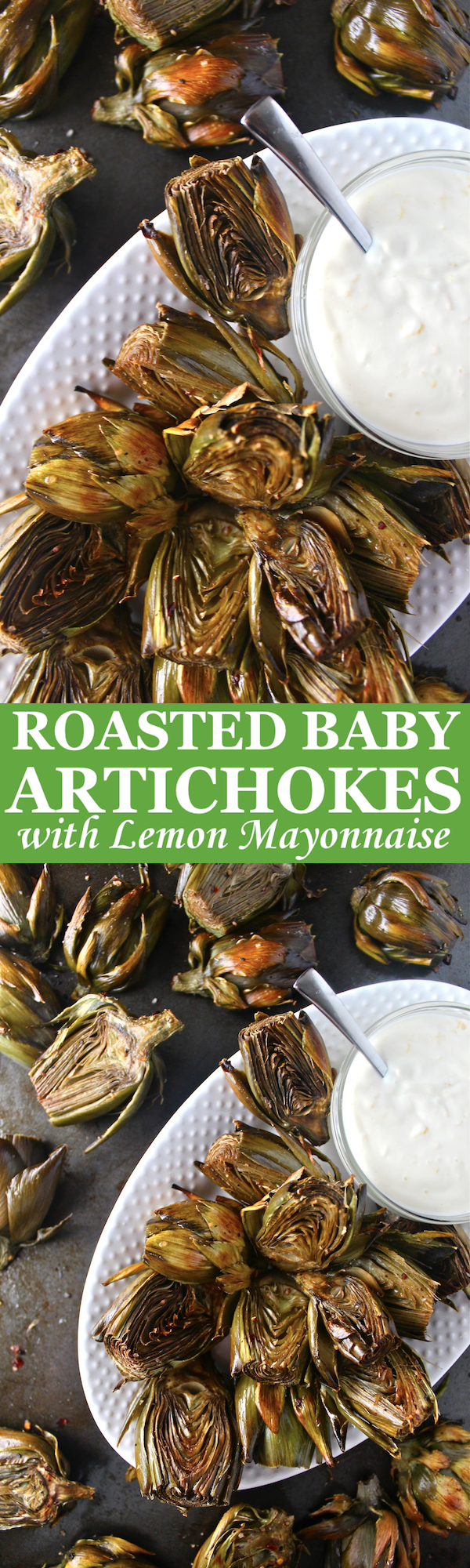 These Roasted Baby Artichokes with Lemon Mayonnaise are a delicious savory, tart, and creamy appetizer that's perfect for spring! | The Millennial Cook #springrecipe #appetizer #artichoke
