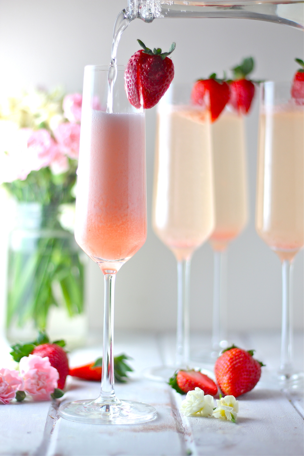 Strawberry Elderflower Champagne Spritzers