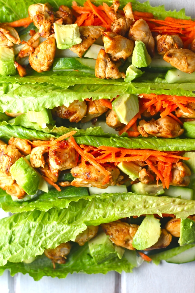 These Thai Chicken Lettuce Wraps - with creamy avocado, bright veggies, and a sweet and tart Asian vinaigrette - are a light and filling dinner! | The Millennial Cook #thai #asian #chicken #avocado #lettucewraps