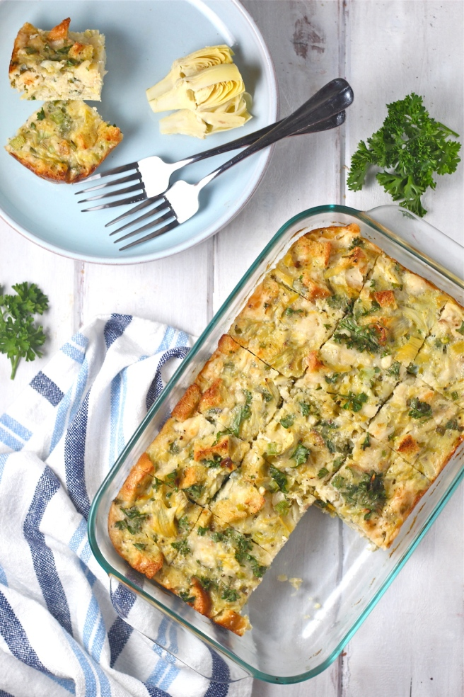 This light and savory Artichoke Frittata is the perfect addition to spring brunch! | The Millennial Cook #springrecipe #eggs #frittata #artichoke