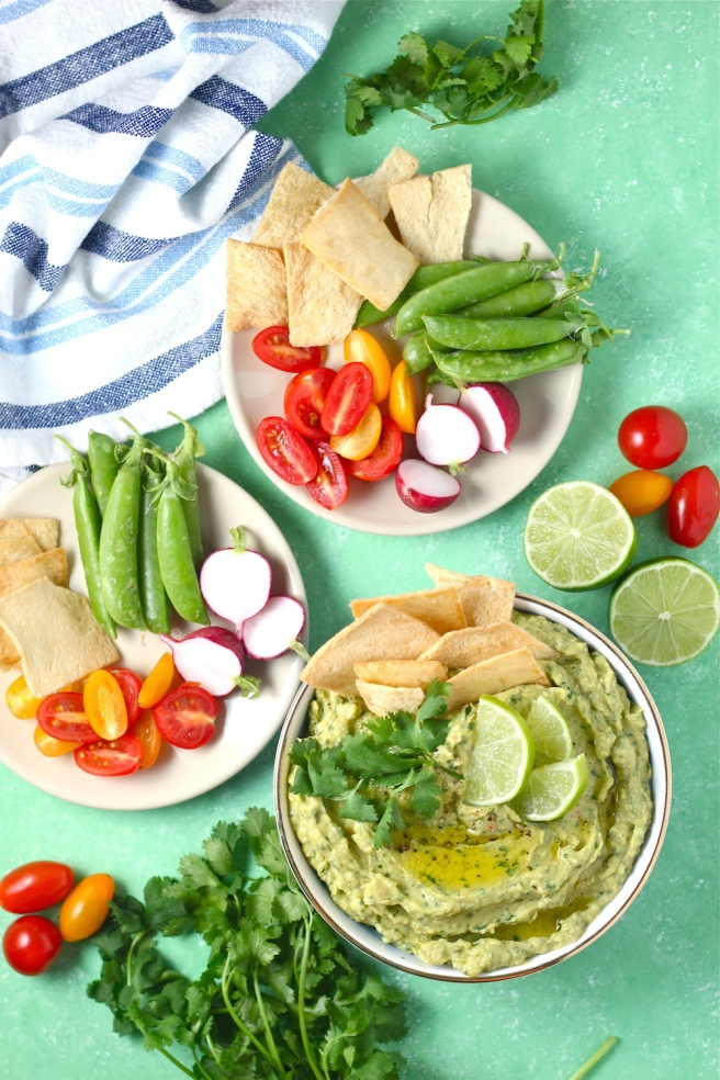This Avocado Cilantro Hummus is an epic combination of creamy guacamole and classic hummus! | The Millennial Cook #appetizer #snack #hummus #avocado #cilantro #lime