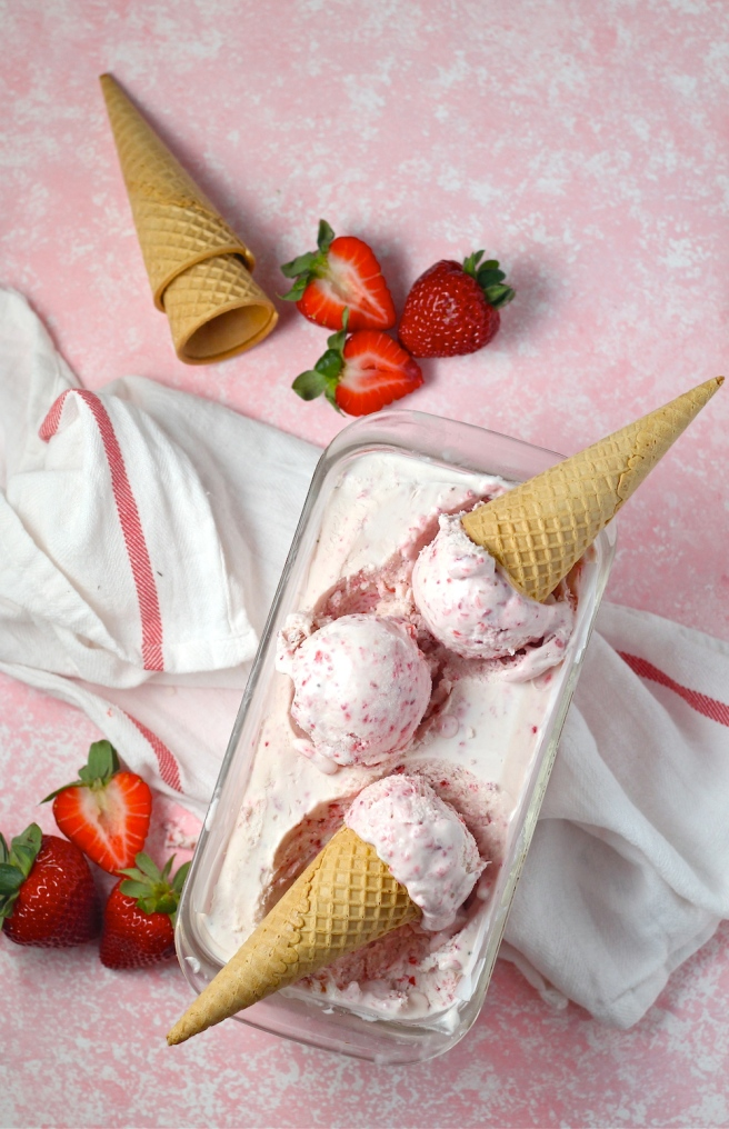 This No Churn Strawberry Ice Cream is a fantastic sweet, fruity, and creamy homemade dessert! | The Millennial Cook #spring #springrecipe #icecream #strawberry