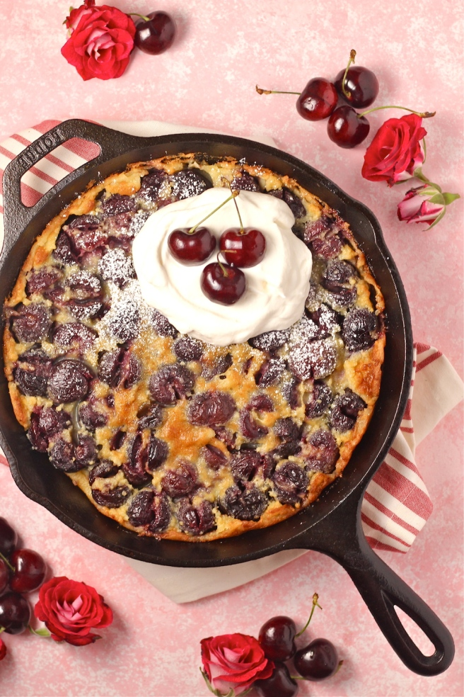 This Cherry Clafouti is a delicious light, sweet, and satisfying dessert that's perfect for summer! | The Millennial Cook #summerrecipe #cherry #french #tart
